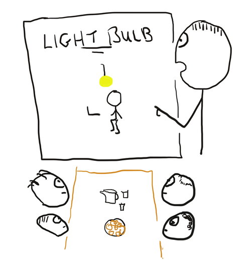 Project light bulb is announced at work meeting