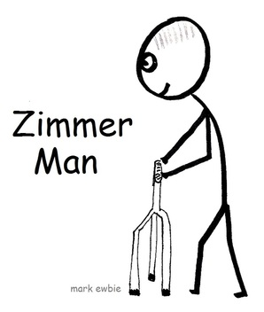 Old stick figure using a Zimmer frame