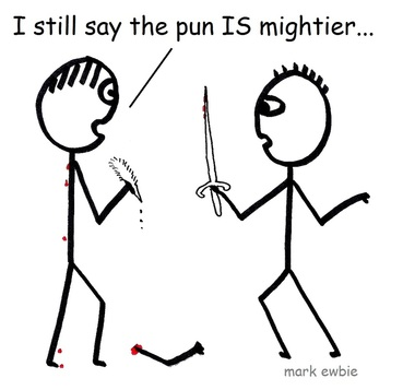 Writer holding a pen confronts man with sword - the pun is mightier than the sword