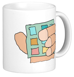 Fat finger design on coffee mug
