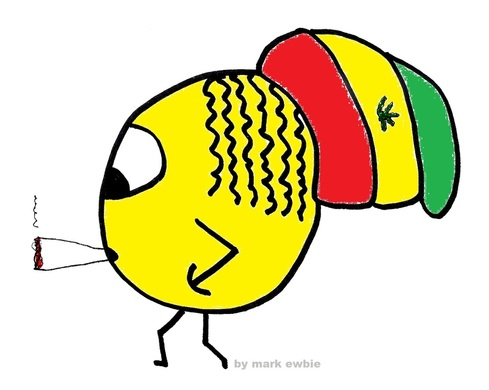 Rasta smiley wanders along smoking a large spliff, hand in pocket and massive Rasta hat.