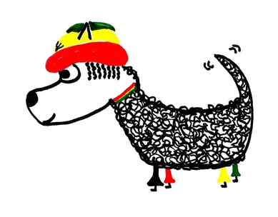 Rasta dog with hat, dreads and flares
