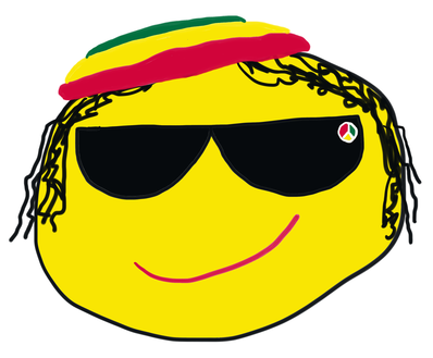Rasta emoji face with shades, Rasta hat and yellow face.  And dreads!