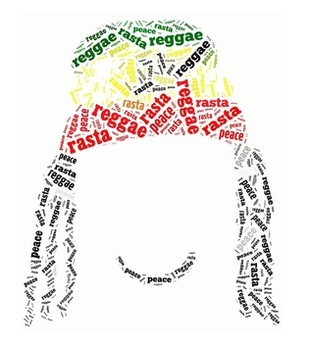 Rasta face made out of words in Rasta, Reggae and Peace
