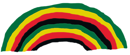 A hand drawn Rasta rainbow in black, red, gold and green