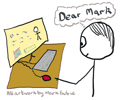 Cartoon of guy filling in a response form - thinking Dear Mark as a thought bubble