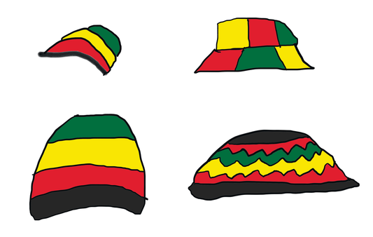 Examples of Rasta Hat drawing designs