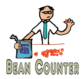 Accountant or Bean Counter design features a number cruncher counting beans from a tin.  Humorous accountancy graphic to help those bean counting days fly past.