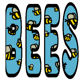 Bees design shows a swarm of hand drawn bees flying around in a fun graphic that could be about saving the planet or just for people who like bees. The bees are enclosed in the word