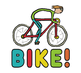 Cycling design shows a cool stick figure cyclist riding a racing bicycle at full speed. Hand drawn cycling graphic for enthusiasts.