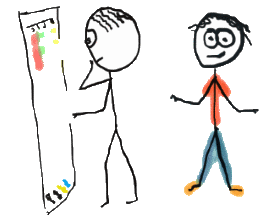 Stickman chooses clothes from a wardrobe