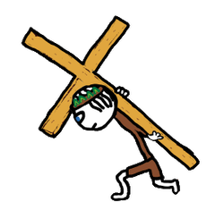 Jesus carrying the Easter Cross drawing