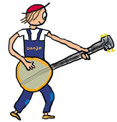 Banjo player wears blue dungarees and plays that instrument
