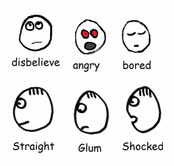 15 different stickman facial expressions