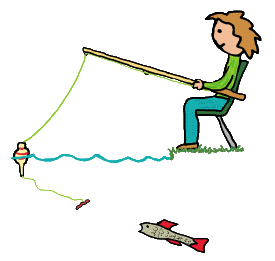 Coarse fishing design shows angler leaning back with bending fishing rod plus a new record catch on the end of the line.  Fun image for keen fishermen and anglers.