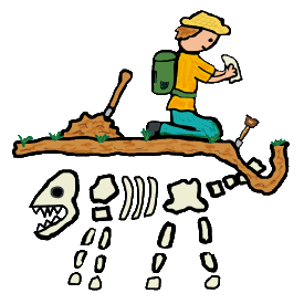 Paleontology design shows a fossil hunter examining a piece of fossil tail bone