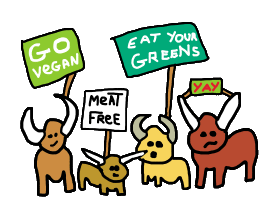 Go Vegan design shows animal meat free protest