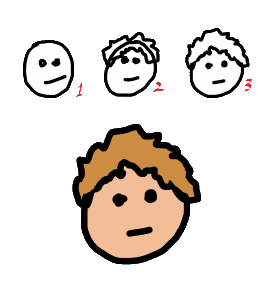 Drawing hair instruction for stick figures