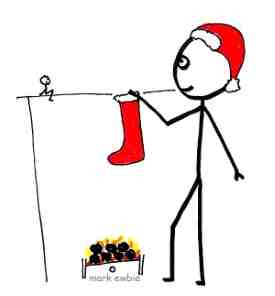 Stickman hangs up Xmas stocking over the fireplace