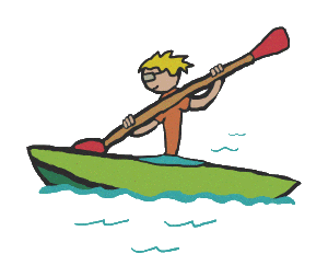 Kayaking - kayak stick figure with double paddle held aloft as he hits the white water.