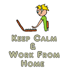 Keep Calm and Work From Home design shows a productive worker sat at keyboard wearing headphones and microphone with the Keep Calm message below. A fun design for people working from home.