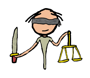 Lady Justice design for legal impartiality with blindfold, scales and sword.  Ideal for lawyers or anyone concerned with the legal system or justice - not always the same things.
