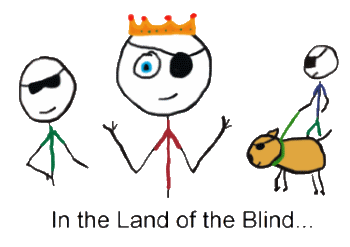 In the land of the blind the one-eyed man is king - three blind stickmen and a one-eyed King cartoon