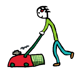 Mowing the lawn - red mover, grass and a stickman