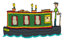 Fun narrowboat design features proud captain piloting narrow boat through the locks and waterways at a tranquil pace.  Complete with ships dog, flowers and other details, a hand drawn graphic for canal boat dwellers, owners and holidaymakers.