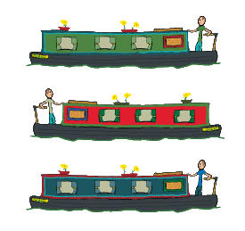 Narrowboat being piloted through the inland waterways by a stickman barge captain