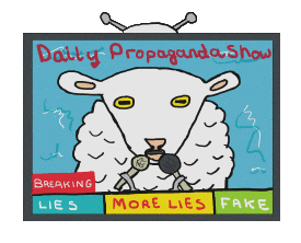 Propaganda design shows a TV news broadcast with a sheep newsreader delivering the Daily Propaganda Show. Consisting of lies, more lies and fake news this is beamed constantly into your living area ensuring the people are kept scared and controlled. Funny and scary at the same time.