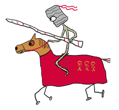 Medieval knight in jousting tournament rides horse in red coat while holding jousting lance.