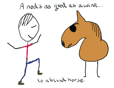 A nod is as good as a wink to a blind horse - illustrated expression shows man dancing in front of blind horse