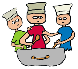 Too many cooks spoil the broth illustrated by three cooks disagreeing over the pot