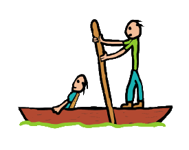 Punting design shows two people in a punt with expert using pole