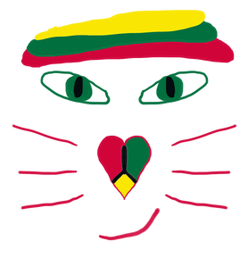A Rasta cat face design - wears hat, peace symbol nose and cheeky smile