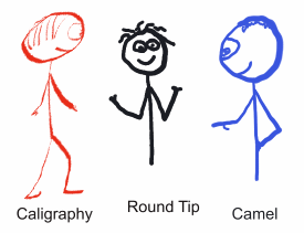 Examples of stickmen drawn with different pen types - caligraphy, round tip, fine marker and camel brush