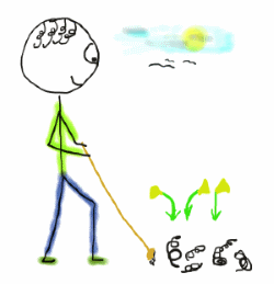 Sweeping - using broom to tidy the garden - spring-cleaning