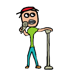 Stand up comic or comedian with mic and stand