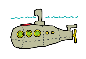 A fun submarine graphic for undersea explorers and submariners.