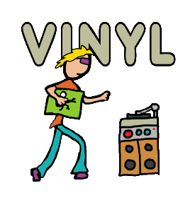 Vinyl Record Collecting design shows a keen record collector carrying vinyl album and heading towards hifi stereo system to play latest addition to the collection.