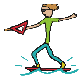 Wakeboarding design with stickman riding a wakeboard