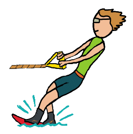 Stick figure water skiing holds rope and leans into water